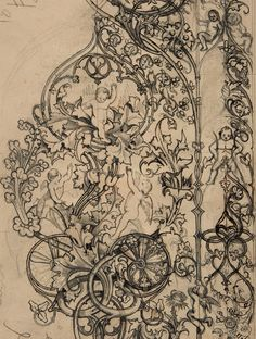 jaded-mandarin:    Gothic Ornament with Putti and Acanthus Leaves, 19th Century.