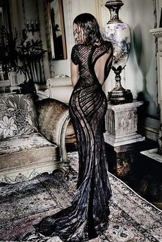 dress lace dress gown black dress beyonce editorial sexy dress sexy couture dress backless dress versace