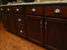 Love this color: General Finishes Gel Stain brown mahogony - Kitchens Forum - GardenWeb Diy Kitchen Cabinets, Painting Kitchen Cabinets, Kitchen Redo, Kitchen Furniture, New Kitchen, Kitchen Remodel, Bathroom Cabinets, Paint Furniture, Furniture Makeover