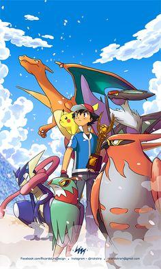 Ash and his Pokemon team! Hd Pokemon Wallpapers, Pokemon Backgrounds, Cute Pokemon Wallpaper, Cute Cartoon Wallpapers, Pokemon Poster, Pokemon Fan Art, Pikachu Pikachu, Pokemon Images, Pokemon Pictures