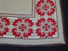 Pretty little individual florals are scattered over the entire cloth ~ so lovely. Crisp, smooth, white linen cloth, with a turned edge. Needlework, Christmas Sweaters, Bohemian Rug, Cross Stitch, Embroidery, Quilts, Blanket, Crochet, Floral