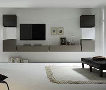 Ensemble meuble TV blanc laqué gris mat et wengé contemporain TERMOLI M-012