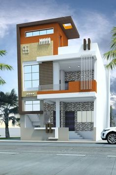 Exterior house в 2019 г. house design, house plans и house elevation. House Front Wall Design, Small House Design, Modern House Design, Bungalow Haus Design, Duplex House Design, Independent House, Free House Plans, Modern House Plans, Home Plans