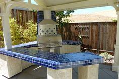 Cobalt Blue Kitchen Tile   Cobalt Blue Mexican Talavera Tile On A BBQ Countertop, Mexican Home ...