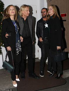 Come together: Ringo was joined by beautiful former Bond girl wife Barbara Bach (R), her s. Beatles Band, The Beatles, Ringo Starr, George Harrison, John Lennon, Santa Monica, Paul Mccartney And Wings, Number One Hits, Step Kids