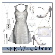 """""""selly"""" by selly111528 ❤ liked on Polyvore featuring Gianvito Rossi, Hervé Léger, Simone Rocha, Real Purity, Guzzini, tenoverten, clear and Seethru"""