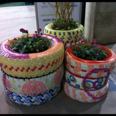 Recycled tires as planters