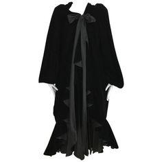 Preowned Vintage Yves Saint Laurent Black Silk Velvet Evening Coat ($5,500) ❤ liked on Polyvore featuring outerwear, coats, black, day dresses, sash belt, long velvet coat, cape coats, ruffle coats and long summer coat