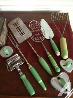 Vintage kitchen tools: spoon whisk, pasta cutter, potato masher, three cookie cutters, fork, spatula and pie server. What great additions to any vintage green kitchen utensil collection! Payment methods accepted: Visa, MasterCard, American Express & Discover Ship to location: United States We ship via USPS We will ship these items out within 1-2 buisiness days after payment via credit card. This ad was posted with the eBay Classifieds mobile app.