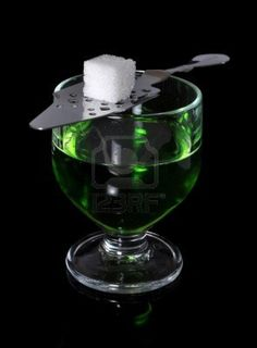 Absinthe with Spoon holding sugar cube