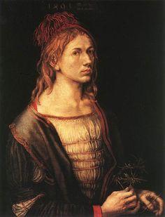 Auto-retrato aos 22 anos, óleo por Albrecht Durer (1471-1528, Germany)