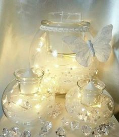 Wedding centerpieces- Partylite's Clearly Creative Trio set!! Decorate them how you like them