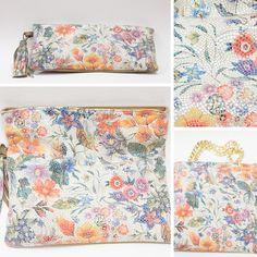Nydelig skinnveske med sommerlig mønster. Liten clutch, stor clutch eller håndveske - du bestemmer. Quilts, Blanket, Quilt Sets, Blankets, Log Cabin Quilts, Cover, Comforters, Quilting, Quilt