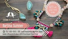 Advertisement, business card, chlor + Isabel, jewelry