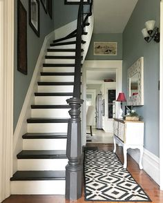 Stairs painted diy (Stairs ideas) Tags: How to Paint Stairs, Stairs painted art, painted stairs ideas, painted stairs ideas staircase makeover Stairs+painted+diy+staircase+makeover Painted Staircases, Painted Stairs, Bannister Ideas Painted, Painted Stair Railings, Style At Home, Design Room, House Design, Interior Paint Design, Staircase Makeover
