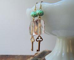 Skeleton key earrings / beaded key earrings / by FleetwoodandCo