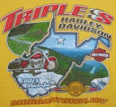 Triples Harley Davidson Graphic T-shirt Large L Yellow 100% Cotton Short Sleeve #HarleyDavidson #GraphicTee