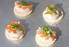 Shrimp with wasabi mayonnaise appetizers. These easy, peasy, one-bite wonders use store-bought convenience items like thin rice crackers, mayo, wasabi and precooked shrimp. What could be easier, especially if you need a last-minute party appetizer?