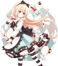✮ ANIME ART ✮ Alice in Wonderland. . .Alice. . .dress. . .poker suit. . .striped socks. . .apron. . .teacup. . .knife. . .playing cards. . .long hair. . .hair bow. . .cute. . .kawaii
