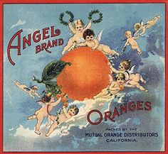 Angel Brand  California  Citrus Crate Label 24x36 Giclee Gallery Print Wall Decor Travel Poster * See this great product-affiliate link-affiliate link.