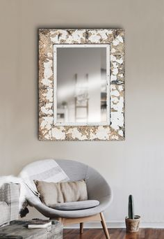 Large hanging hall mirror with pressed steel frame. The antique pressed steel frame lends texture and authenticity to an entrance hall and the large mirror makes it feel more spacious. Hall Mirrors, Ceiling Panels, Interior Decorating, Interior Design, Entrance Hall, Steel Frame, Authenticity, Wall Mount, Oversized Mirror