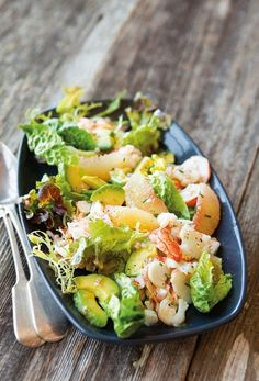 """Lobster Salad with Grapefruit + Avocado. """"The grapefruit juice in this vinaigrette, along with the grapefruit sections in the salad, accentuate the sweetness of succulent lobster. Smooth, creamy avocado adds a hint of richness. Healthy Recipes, Healthy Salads, Salad Recipes, Healthy Eating, Cooking Recipes, Healthy Cooking, Best Summer Salads, Healthy Summer, Lobster Salad"""