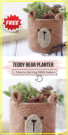 crochet Teddy bear planter free pattern - easy crochet basket pattern for beginners Crochet Teddy Bear Pattern Free, Teddy Bear Patterns Free, Crochet Basket Pattern, Knit Basket, Crochet Totoro, Crochet Sloth, Crochet Bear, Diy Crochet, Crochet Dolls