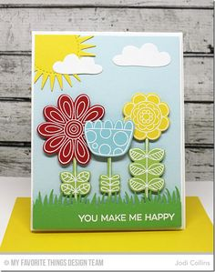 Doodled Blooms Card Kit, Grassy Edges Die-namics, Cloud 9 Die-namics, Radiant Sun Die-namics - Jodi Collins  #mftstamps