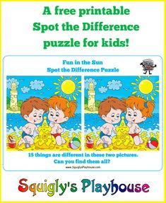 A colorful and fun printable Spot the Difference Puzzle for kids! Use it at home, at camp or in the classroom!