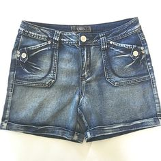 "SALECATO Dark Wash Denim Shorts w Rhinestones CATO Dark Wash Denim Shorts with Rhinestones // cute and unique! // perfect condition // size 10 // waist 15.5"" / rise 13"" / length 19.5"" / hips 19"" // 70% cotton, 20% polyester, 2% spandex // non-smoking home ........ 20% off 2+ Bundles // Same Day or Next Day Shipping!! 4.7.25 Cato Shorts Jean Shorts"