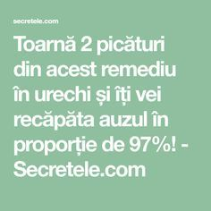 Toarnă 2 picături din acest remediu în urechi și îți vei recăpăta auzul în proporție de 97%! - Secretele.com Arthritis Remedies, Herbal Remedies, Natural Remedies, Gut Health, Health Tips, Health Fitness, Stage 3 Kidney Disease, Exam Study, Metabolism