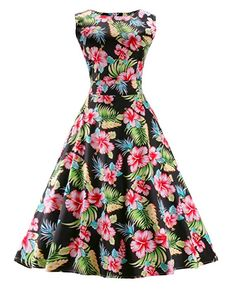 Dreagal Vintage 1950's Floral Spring Garden Party Picnic Dress Party Cocktail Dress at Amazon Women's Clothing store: