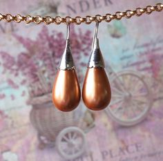 souldesign - Shop - Earrings - Earrings, Drops of rose gold from wax beads Beaded Earrings, Pearl Earrings, Drop Earrings, Soul Design, Shops, Earring Crafts, Wax, Rose Gold, Beads