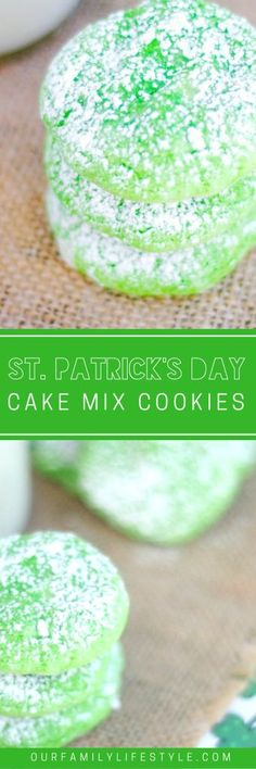 See how a simple box of white cake mix can give you the perfect green St. Patrick's Day Cake Mix Cookies Recipe in no time! Cake Mix Cookie Recipes, Cake Mix Cookies, Dessert Recipes, Crinkle Cookies, Yummy Cookies, Cheesecake Recipes, Cupcakes, Yummy Treats, Delicious Desserts