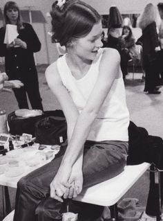 Kate Moss backstage at Paris Fashion Presentation in 1991. http://www.dazeddigital.com/fashion/article/18032/1/top-10-early-kate-moss-moments
