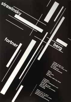 "Josef Müller-Brockmann, poster strawinsky / fortner / berg, 1955. Conducted by Erich Schmid, Tonhalle Zürich, Switzerland.  From the book ""Große Designer der Werbegraphik"", my own."