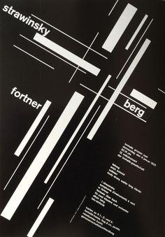 "Josef Müller-Brockmann, poster strawinsky / fortner / berg, 1955. Conducted by Erich Schmid, Tonhalle Zürich, Switzerland. From the book ""Große Designer der Werbegraphik"", my own."