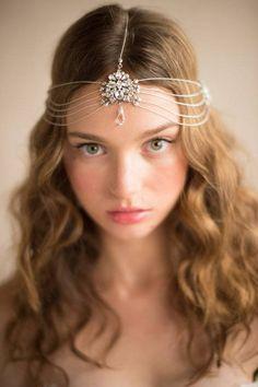 Hair Accessories Chain Head Crown, 1920's Vintage Inspired Multi-strand Silver Crystal Headpiece Art Deco Headband