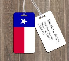 TEXAS Flag TX Monogram Luggage Bag Tag SET of 2, 4, 6, or 8! Backpack Golf Family Wedding Gift Custom Monogram Set - Customize your own! by TheMonogramStand on Etsy #texasmonogram #texasluggage #texaspride #texasgirl #texas #dontmesswithtexas