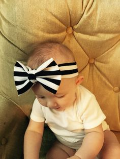 Striped headbands Turban jersey knit baby girl by AddalynJoAndCo