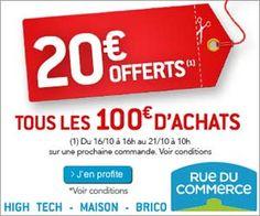Rue du Commerce : 20 euros offerts en bons d'achat tous les 100 euros de panier (hors frais de port)