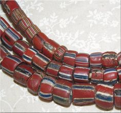 18th C. Antique African Trade Beads, Striped