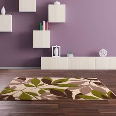Rapello petal rugs in chocolate brown and green buy online from the rug seller uk Chocolate Brown, Three Dimensional, Modern Interior, Hand Carved, Floral Design, Living Room, Rugs, House Styles, Green