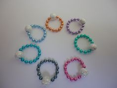 Knitting Stitch Markers, Snag Free, Colored Chains with Silver Beads, Set of 2. $6.00, via Etsy.