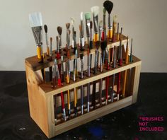 Wooden Paint Brush Holder Paintbrush Stand Wood Brush Caddy Artist Brush Rack Brush Stand Brush Organizer Wood Handmade Handcrafted on Etsy, $30.00