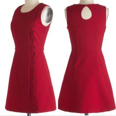 Louche dress from Modcloth Dark red dress, UK designer Louche bought from Modcloth. Scallop detail down side, with pockets! New with tags. Tag says UK size 14, is say it's about a 10-12, depending on your bust size. I accept reasonable offers! ModCloth Dresses