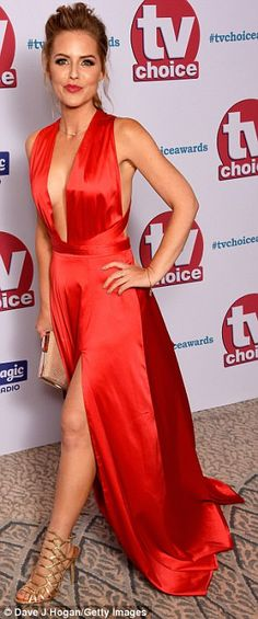 Making a statement:Coronation Street's Catherine Tyldesley, 33, led the style in a flesh-flashing ensemble on the red carpet of the TV Choice at The Dorchester on Monday night alongside co-star Kym Marsh, 41, and soap pal Stephanie Waring, 38