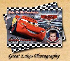 Personalized Lightning McQueen Photo Birthday Card 5x7 - Digital File. $12.00, via Etsy.