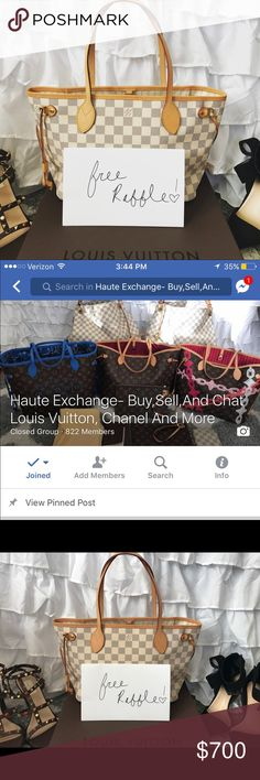 Louis Vuitton DA Neverfull PM RAFFLE CLOSES AT 3 pm TODAY!Hi everyone for those interested I will be doing a FREE raffle to enter please join my Group on FB and Add 2 friends to enter the raffle! Once there is 1,000 members we raffle this beauty off! We already have 822 members in just one day! Come join us and enter to win!Please let me know if you have any questions thanks!! Louis Vuitton Bags Shoulder Bags