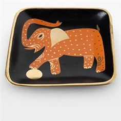 Waylande Gregory Black and Gold Small Square Elephant Tray